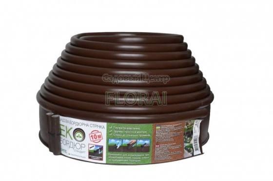 Лента бордюрная коричневая Екобордюр Стандарт 110ммх10м