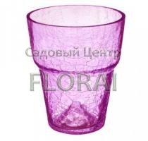 Кашпо для орхидей стеклянное с эффектом потрескавшегося стекла d15 розовое