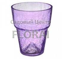 Кашпо  для орхидей стеклянное с эффектом потрескавшегося стекла d15 фиолетовое