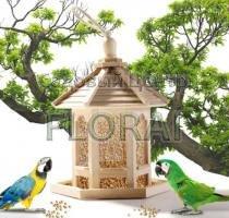 Годівниця для птахів дерев'яна з дахом